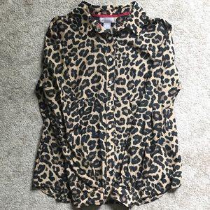 JCP silk cotton blend button down shirt leopard L